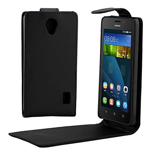 Zhangl Fundas de Cuero para teléfonos móviles Funda de Cuero con Hebilla magnética de Flip Vertical de Textura de para Huawei Y635 Estuches de Cuero (Color : Black)