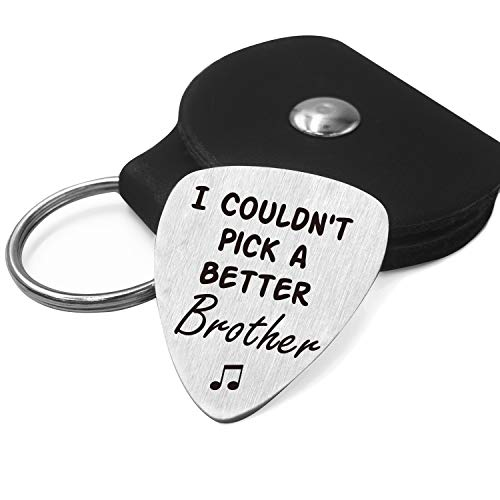 Brother Love Quotes Guitar Pick Gifts for Him Men - Stainless Steel Guitar Pick with Guitar Pick Holder Case - Best Musician Gift Ideas for Brother Graduation Birthday Valentines Christmas Gifts