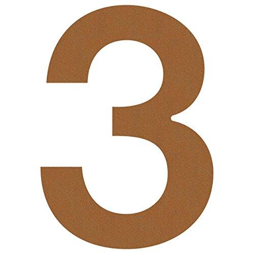 Hausnummer 3, Design Hausnummer aus Edelstahl in Rost