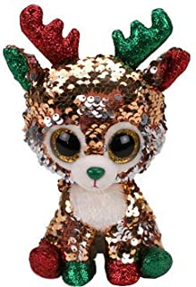 Ty- Flippables TY37290 - Sequins Tegan The Reindeer Soft Toy - 23 cm, Multicoloured