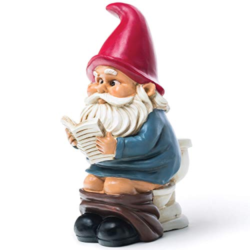 BigMouth Inc Gnome on a Throne, 9.5-inch Tall Funny Lawn Gnome Perfect for Gardens, Weatherproof