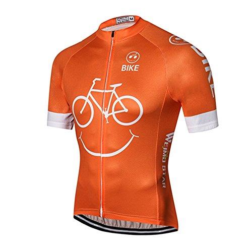Weimostar Men's Cycling Jersey Mountain Bike Jersey Biking Shirt Jacket 2020 Short Sleeve MTB Clothing Smile Orange Size L
