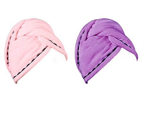 Luxspire 2 Pezzi Asciugamano Capelli in Microfibra, Asciugacapelli Veloce, Asciugamani da Bagno/Doccia per Capelli Lunghi con Bottoni, Rosa & Viola