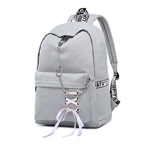 REBKW New Women Backpack USB Charging Nylon Backpacks School Bags For Teenagers Girl Laptop Backpack mochila feminina Students Satchel(gray small)
