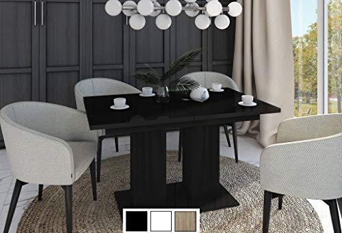 Design Esstisch Tisch DE-1 Schwarz Hochglanz ausziehbar 130 bis 170 cm
