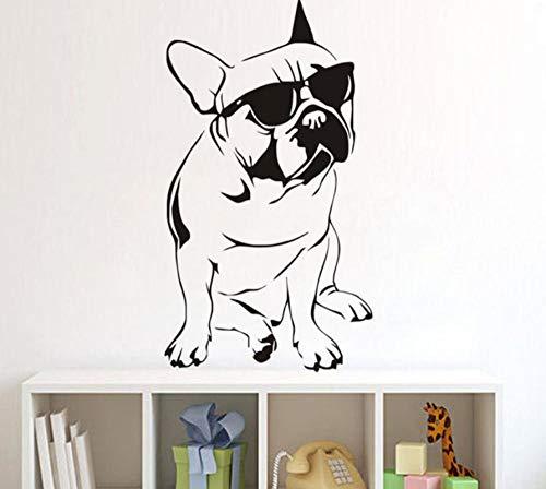 Muurtattoo 42 x 80 cm Bulldog met zonnebril, verwijderbaar, PVC, moderne woondecoratie, waterdicht, zelfklevend, creatief, knutselen