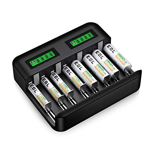 EBL Charger and Batteries Set - 8Slot LCD Independent Battery Charger and AA Batteries 2800mAh (4Pcs) & AAA 1100mAh Rechargeable Batteries (4Pcs)