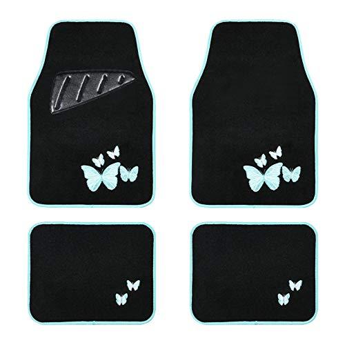 August Auto Universal Fit Butterfly Set of 4pcs Carpet Car Floor Mats with Heelpad Fit for Sedan, SUVs, Truck, Vans