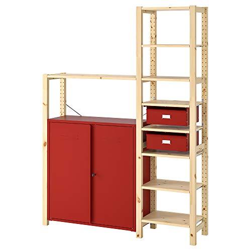 Estantería IVAR con gabinetes/cajones 134x30x179 cm pino/rojo