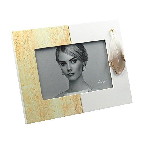 Cadre photo design Plume Laqué Blanc mat – Vernis trait bois env. 21 x 16 cm pour photos de 15 x 10 cm