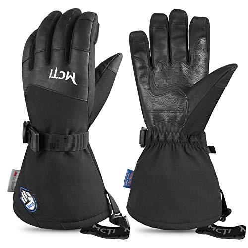 Botack Mens Ski Gloves Waterproof Touchscreen Winter Snow Sports Gloves PU Leather