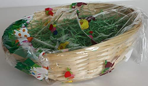 Oster-Bambuskorb 19cm, gefüllt mit Gras Osterkorb Ostern Korb