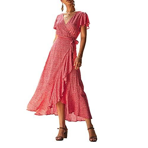 Vestido Largo con Cuello En V Verano para Mujer con Estampado Floral De Lunares