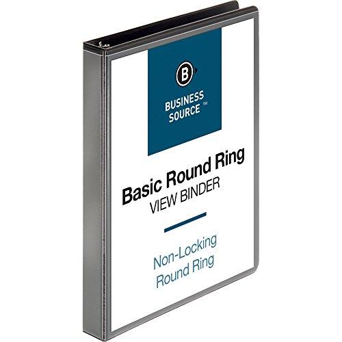 Business Source 1-Inch Round Ring View Binder - Black (09952)