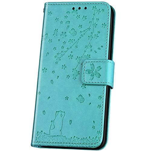 JAWSEU Compatible avec LG V30 Coque Portefeuille Cuir à Rabat Étui Housse Protection Premium PU Magnétique Élégant Beau Chat Fleur de Cerisier Slim Leather Flip Wallet Case Etui,Vert