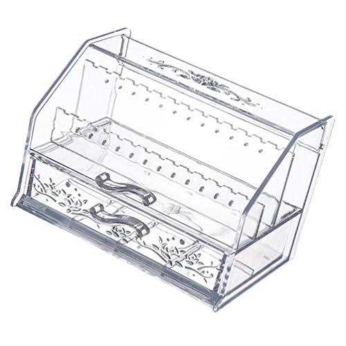 Cabilock Acryl Schmuck Veranstalter Box Klar Ohrring Halter Schmuck Vitrine Acryl Kosmetik Box für Badezimmer Kommode Waschtisch Arbeitsplatte Zufällige Farbe