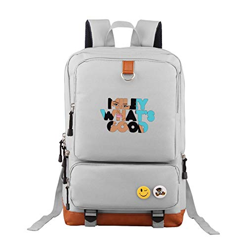 Gray Unisex Nicki Minaj Backpack Vintage Laptop Backpack Anti-Theft Water Resistant Bag Casual Travel Backpack