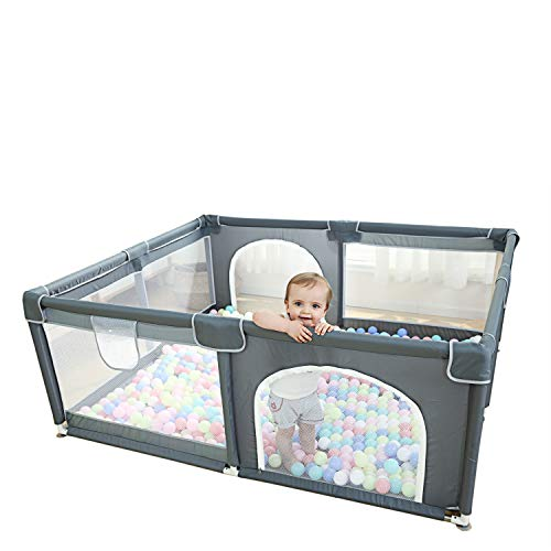 Baby Playpen, Extra Large Playard for Toddlers, 29+ sq. Ft Play Area, Kids Safety Play Yard & Activity Center, Large Ball Pit for Indoor & Outdoor, Portable Anti-Fall Play Pen for Infants (Grey)