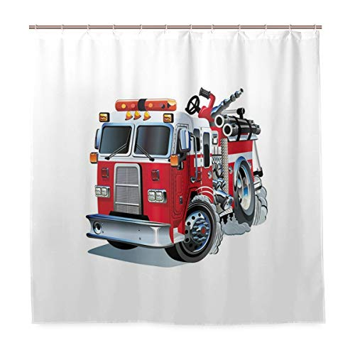 DYCBNESS Duschvorhang,Feuerwehr Fahrzeug Nothilfe für öffentliche Feuerwehr Transport Themen LKW,Vorhang Langhaltig Hochwertig Bad Vorhang Polyester Stoff Wasserdichtes Design,mit Haken 180x180cm
