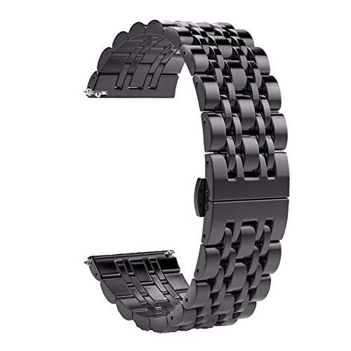 Fawyhr Bandas de Reloj de Acero Inoxidable con Extremo Recto y Curvado - Correas de Reloj de reemplazo de Metal 18 mm 20 mm 22 mm 24 mm Reloj de muñeca (Color : Black, Size : 18mm)