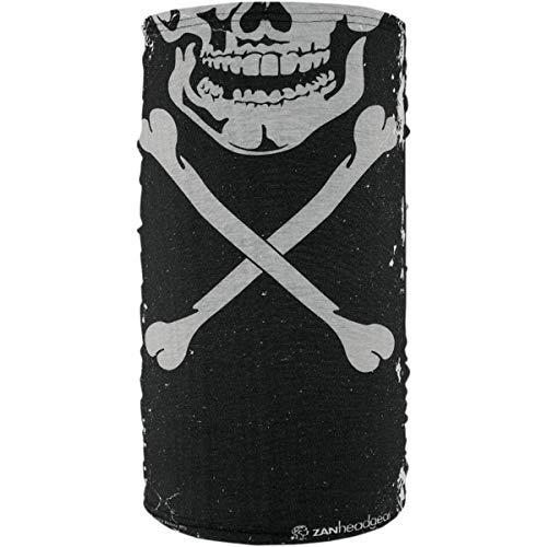 Zan Headgear TF227 Fleece-Lined Motley Tube, Gender: Mens/Unisex, Primary Color: White, Distinct Name: Skull and Crossbones, Size: OSFM