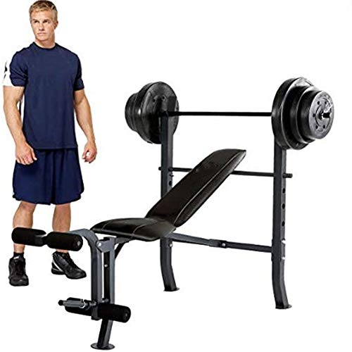 Weightlifting Set with Levers and Benches and Weightlifting Professional Full Body Workout Weightlifting Table and Fixed 4 Wheel Leg Pads Home Gym