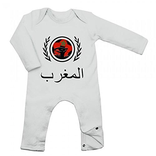 Shirt Happenz Marokko Weltmeisterschaft 2018#2 Babybody Fan Trikot Fußball WM Nationalmannschaft Langarm Langärmliger Strampler, Farbe:Weiß (White BZ13);Größe:12-18 Monate