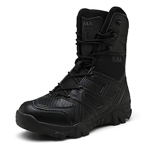 Treasu-LQ Men's high-top Waterproof Military Tactical Hiking Boots Anti-Sand and Non-Slip Trekking Boots Black
