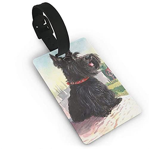 Etiquetas de Equipaje Scottish Terrier Perro Lindo Arte Rural Impreso PVC Etiqueta de Nombre Maleta de Viaje Identificador Etiquetas de identificación Etiqueta de Equipaje Duradera