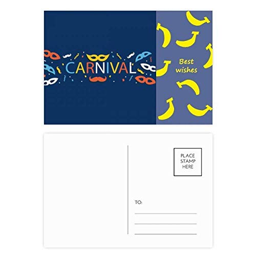 Bartmaske Happy Carnival of Venice Banana Postkarten-Set, Danksagungskarte, 20 Stück