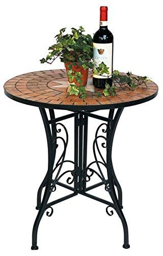 DanDiBo Tisch Mosaik Merano 12001 Gartentisch D-60 cm Metall Mosaiktisch Beistelltisch Rund
