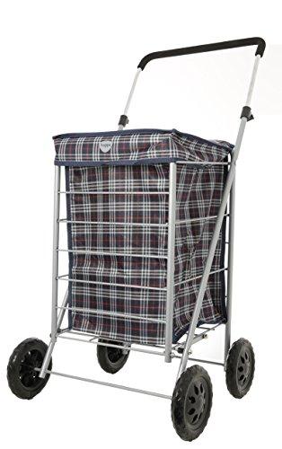 Hoppa Einkaufstrolley mit 4 Rädern, faltbar, aus Stahlrohr, Textil, tartan, Shopper Trolley