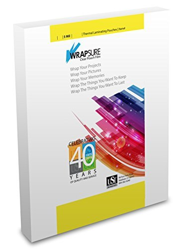 USI WrapSure Thermal (Hot) Laminating Pouches/Sheets, Legal Size, 5 Mil Thick, 9 x 14.5 Inches, Clear Gloss, 100-Pack