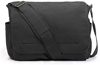 Sweetbriar Classic Messenger Bag - Vintage Canvas Shoulder, Black, Size Large
