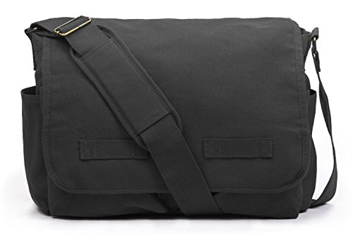 Sweetbriar Classic Messenger Bag - Vintage Canvas Shoulder, Black, Size Large