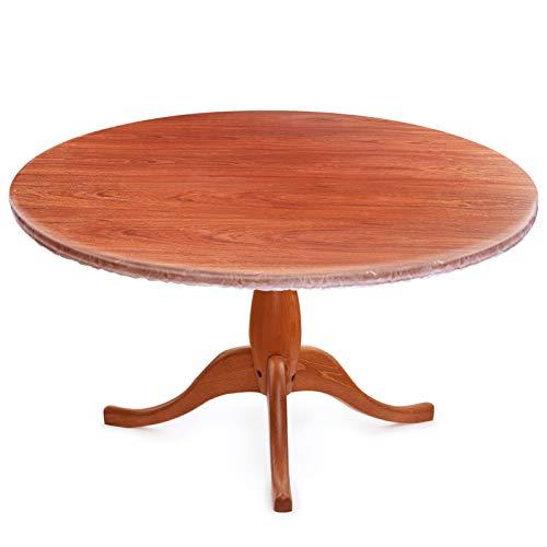WINOMO Mantel redondo transparente de PVC con bordes elásticos, resistente al agua y al aceite, apto para mesas de hasta 110 – 140 cm