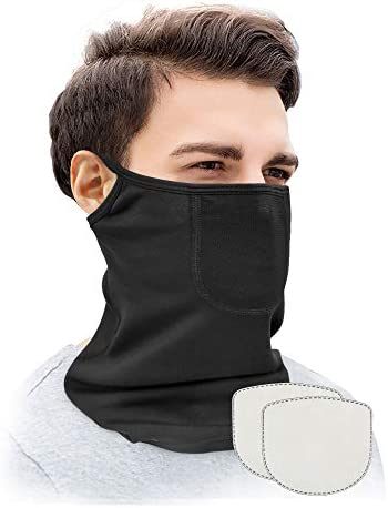 Neck Gaiter Face Mask with 2 Filters Ear Loops Cotton Face Covering with UV Dust Protection product image