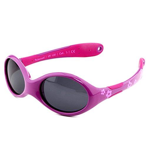 ActiveSol Occhiali da sole per BIMBI PICCOLI | RAGAZZE | Protezione 100% UV 400 | polarizzati | indistruttibili in gomma flessibile | 0-2 anni | 18 grammi [Misura S - Fiore]