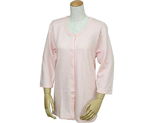 婦人用 キルト八分袖前開きシャツ(プラスチックホック式) ピーチ S W471 (ウエル) (返品不可)