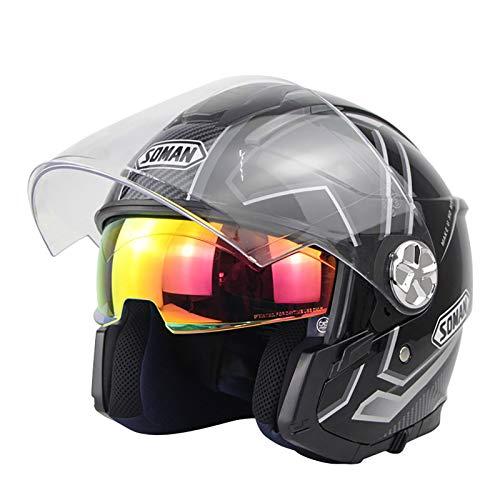 Casco unisex para motocicleta adulto modular con tapa completa, apto para casco de bicicleta de calle de carreras, doble visera (color: negro, tamaño: pequeño)