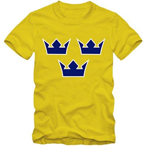 Schweden Fußball WM 2018 T-Shirt Fußball WM 2018 Ice Hoceky EIS-Hockey Sweden Sverige Shirt, Farbe:gelb (lemongelb);Größe:L