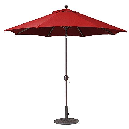 Galtech 9-Ft (Model 737) Deluxe Auto-Tilt Umbrella w/Jockey Red Sunbrella Fabric & Antique Bronze Frame