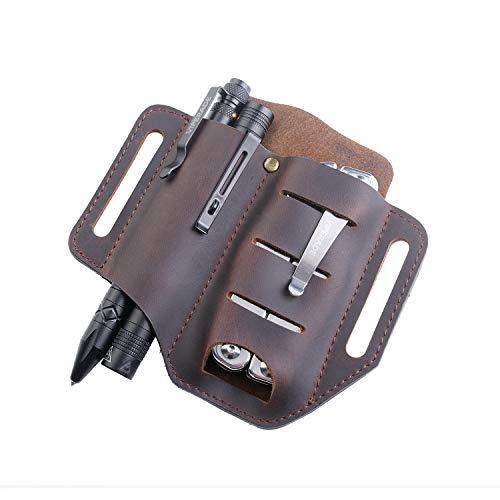 VIPERADE PJ8 EDC Leather Sheath for Blet, Knife/Tool/Flashlight/Tactical pen and EDC Gears, Pocket EDC Organizer Leather Sheath, Hademade 2 Pockets Belt Leather Slip Sheath (Brown)