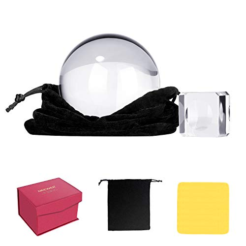 Neewer Pro 80mm Bola de Cristal K9 con Soporte Paño de Limpieza Bbolsa y Caja Bola de Cristal Colectores Solares para Accesorios de Fotografía y Decoración Accesorios