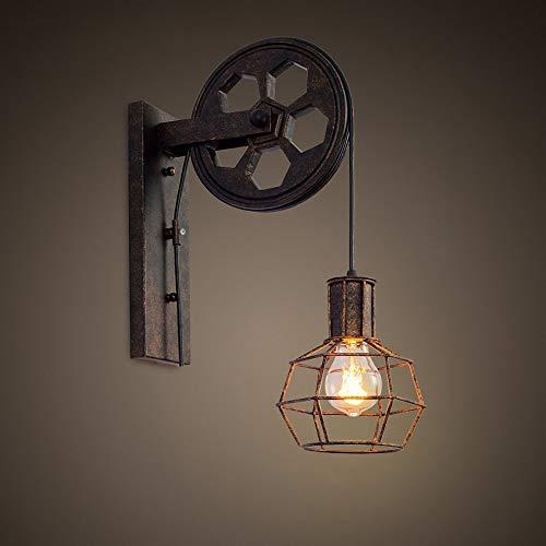Loft industriell retro vägglampa ett huvud lyft remskiva ljusarmatur