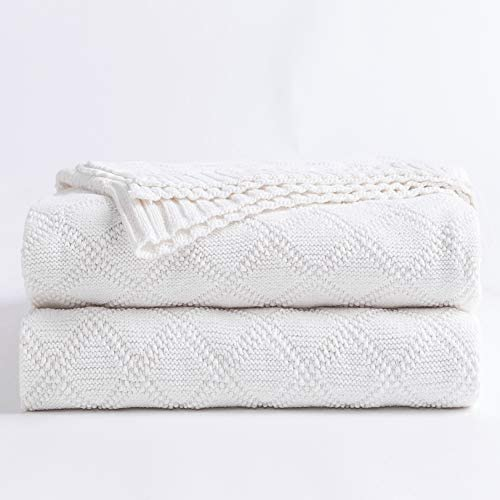 100 Cotton Pure White Cable Knit Throw Blanket for Couch with Bonus Laundering Bag Large 50 product image
