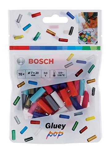 Bosch Set da 70 Pezzi Stick di Colla Gluey (Gluey Sticks POP, Dimensioni dello Stick: 20 x 7 mm, Accessorio per Penna Incollatrice a Caldo Gluey)
