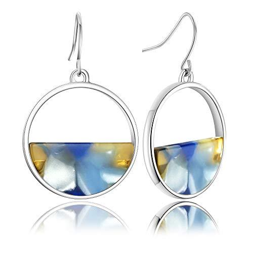 Womens Acrylic Earrings, Geometric Resin Drop Dangle Earrings Statement Hoop Earring Tortoise Stud EarringsJewelry
