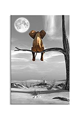 Framed Wall Art Animal Resting Elephant Look at The Moon Wall Pictures Giclee Bedroom Decor on Canvas Stretched Artwork Living Room Bedroom Ready to Hang