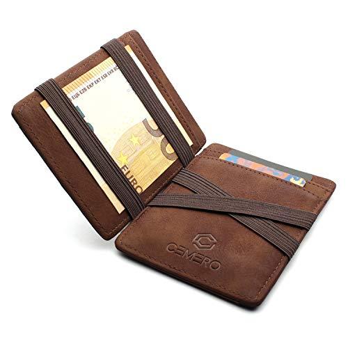 CEMERO Magic Wallet Geldbörse mit Münzfach - Geprüfter RFID/NFC Schutz – Smart Wallet mit Kleingeldfach - Designer Portemonnaie - Magischer Geldbeutel als Geschenk in Braun